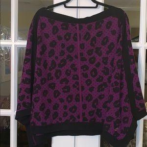 Juicy Couture Purple Black Leopard Dots Poncho